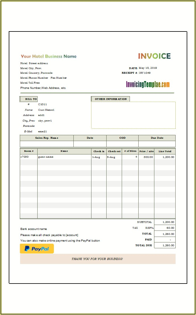 Hotel Bill Format In Word With Gst