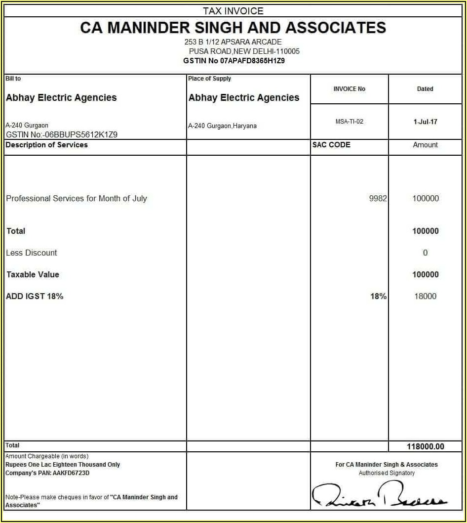 Invoice Format In Word Without Gst