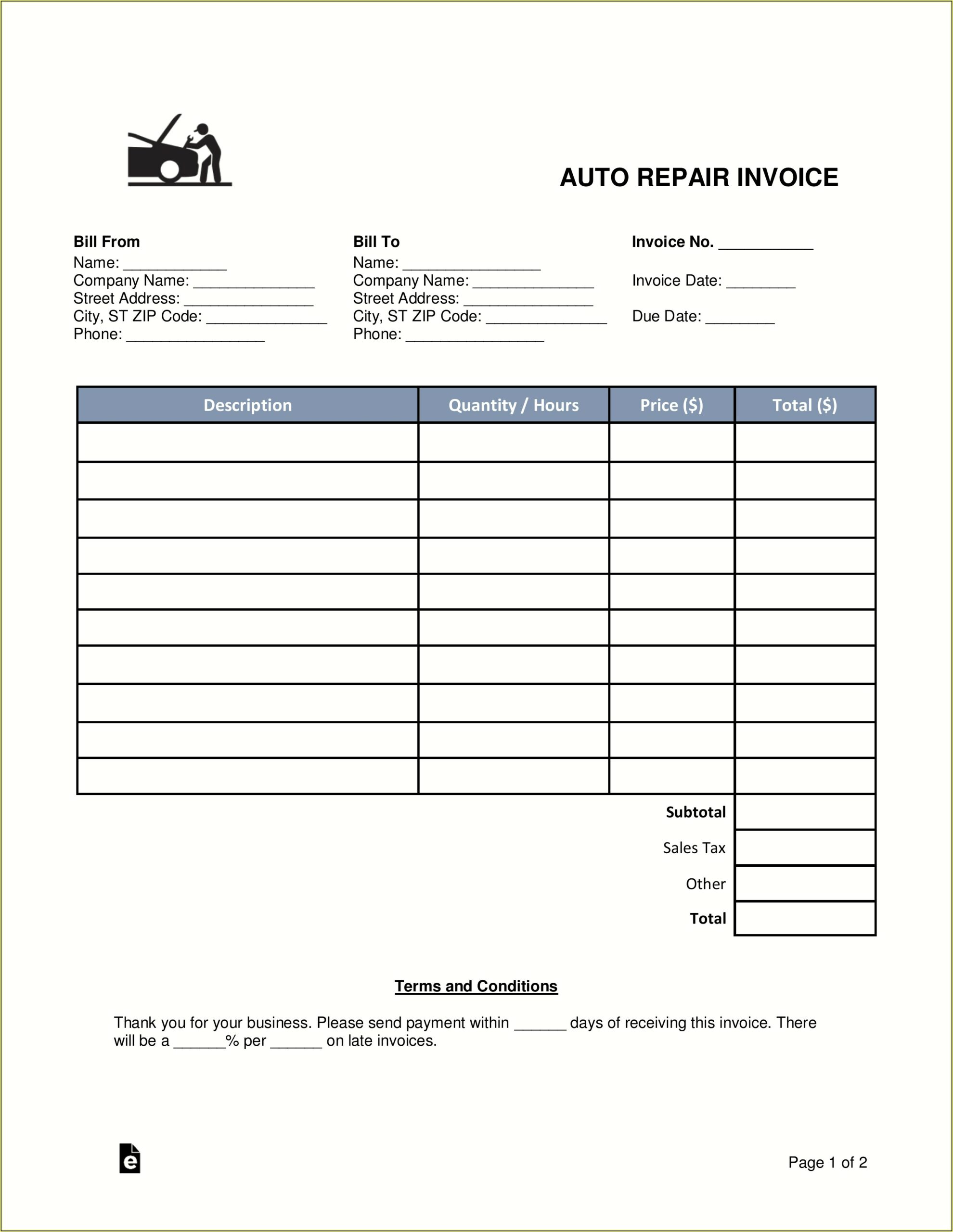 Invoice Forms Free Printable