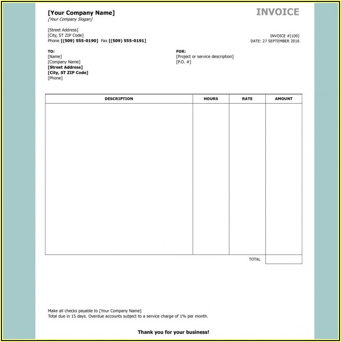Invoice Template Word Format Download Free