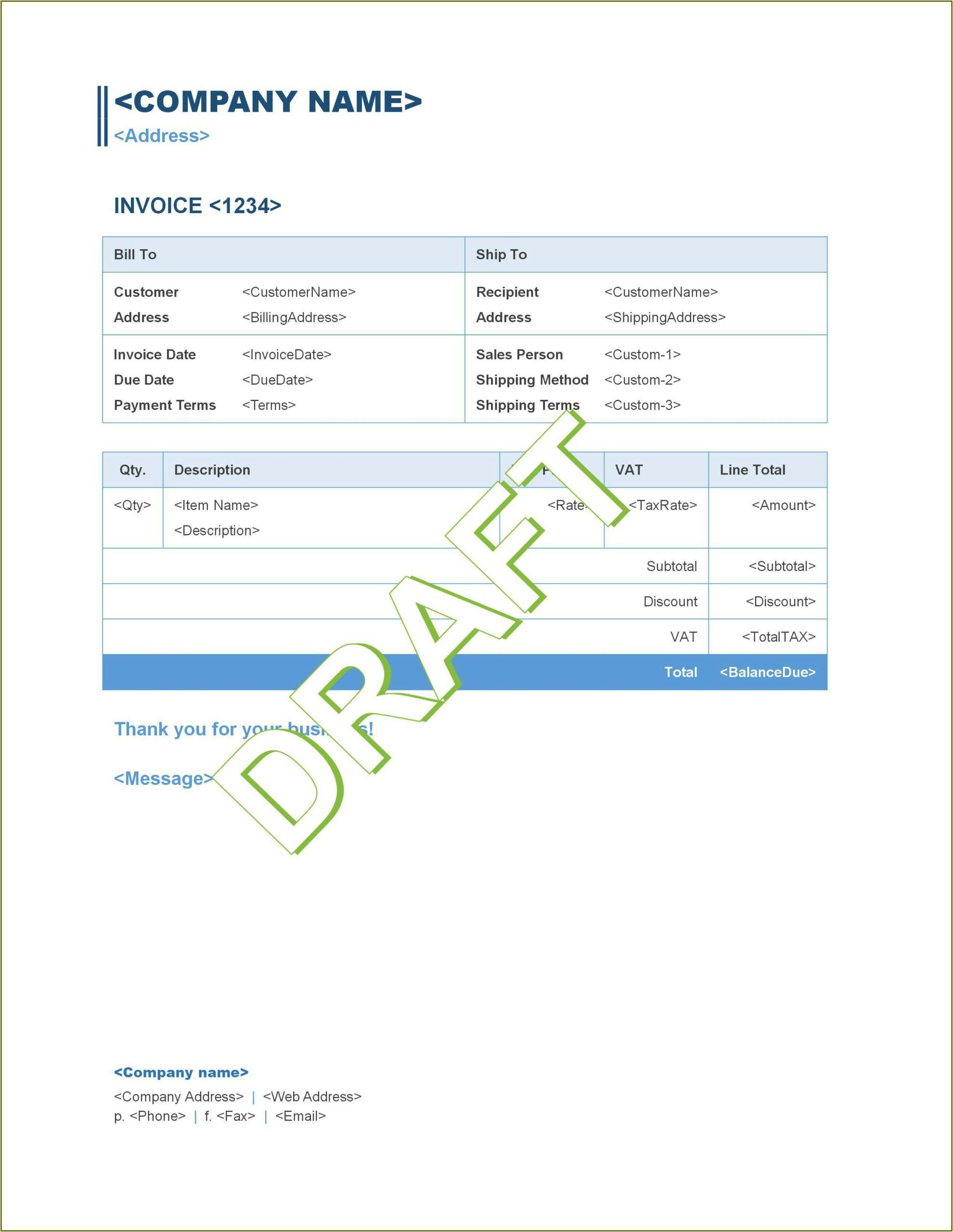 Invoice Templates Quickbooks Online