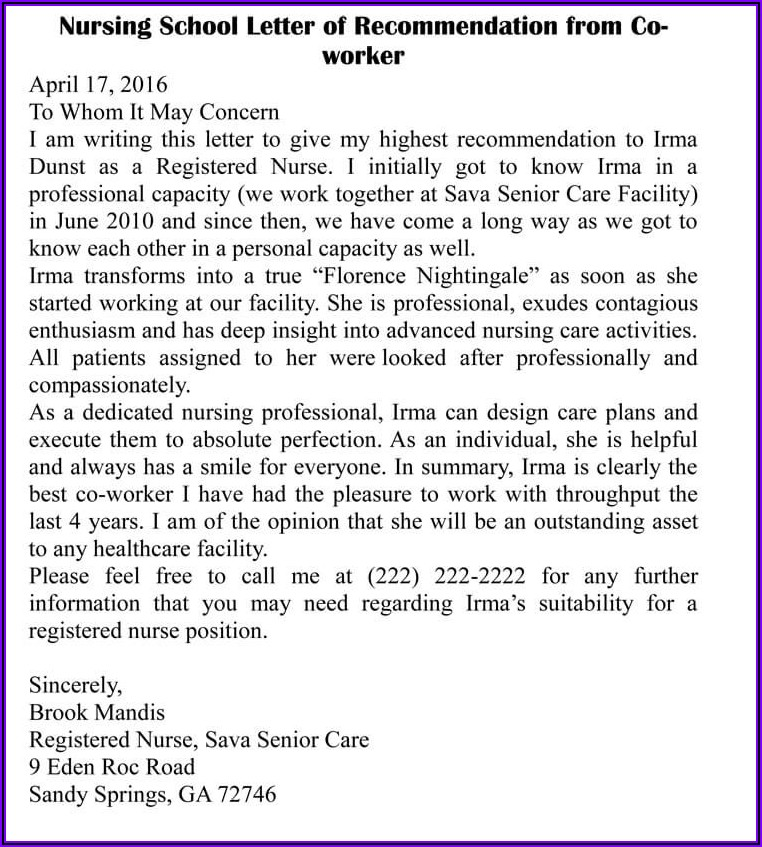 Letter Of Recommendation For Coworker Nurse