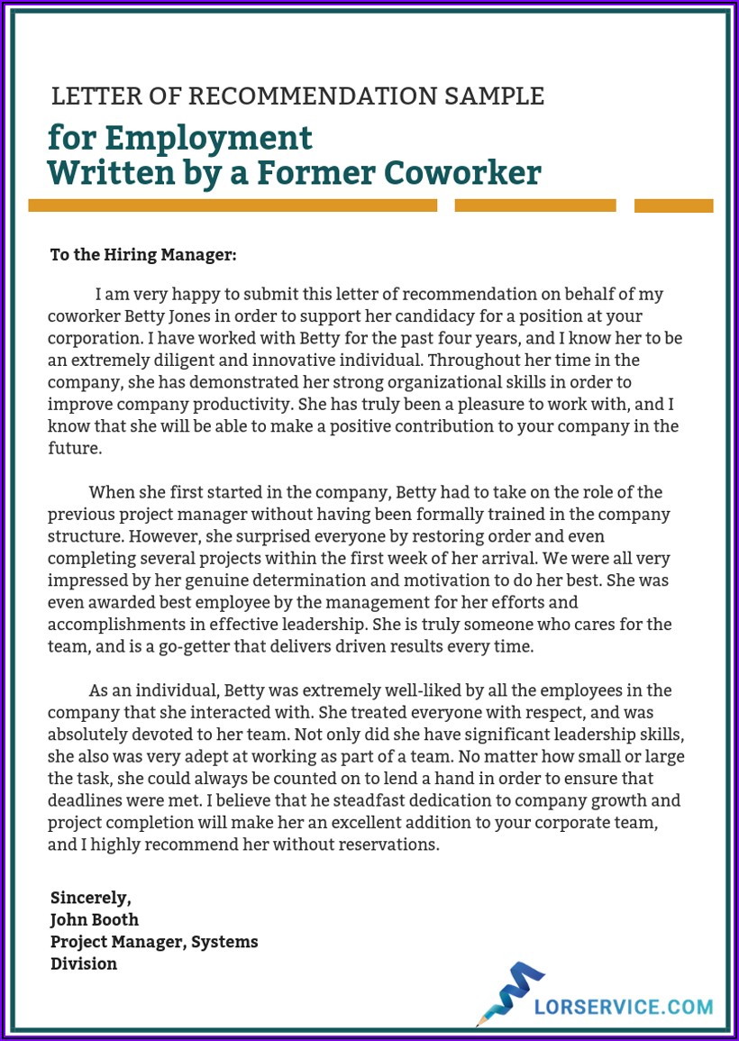 Letter Of Recommendation For Coworker Template