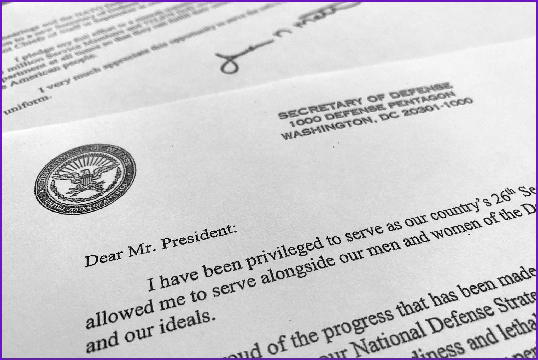 Mattis Resignation Letter Full Text