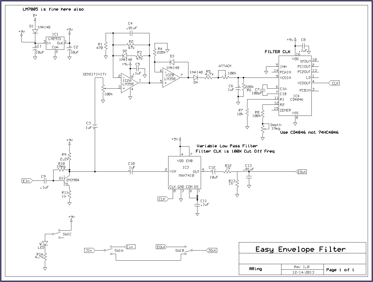 Mxr Bass Envelope Filter Schematic