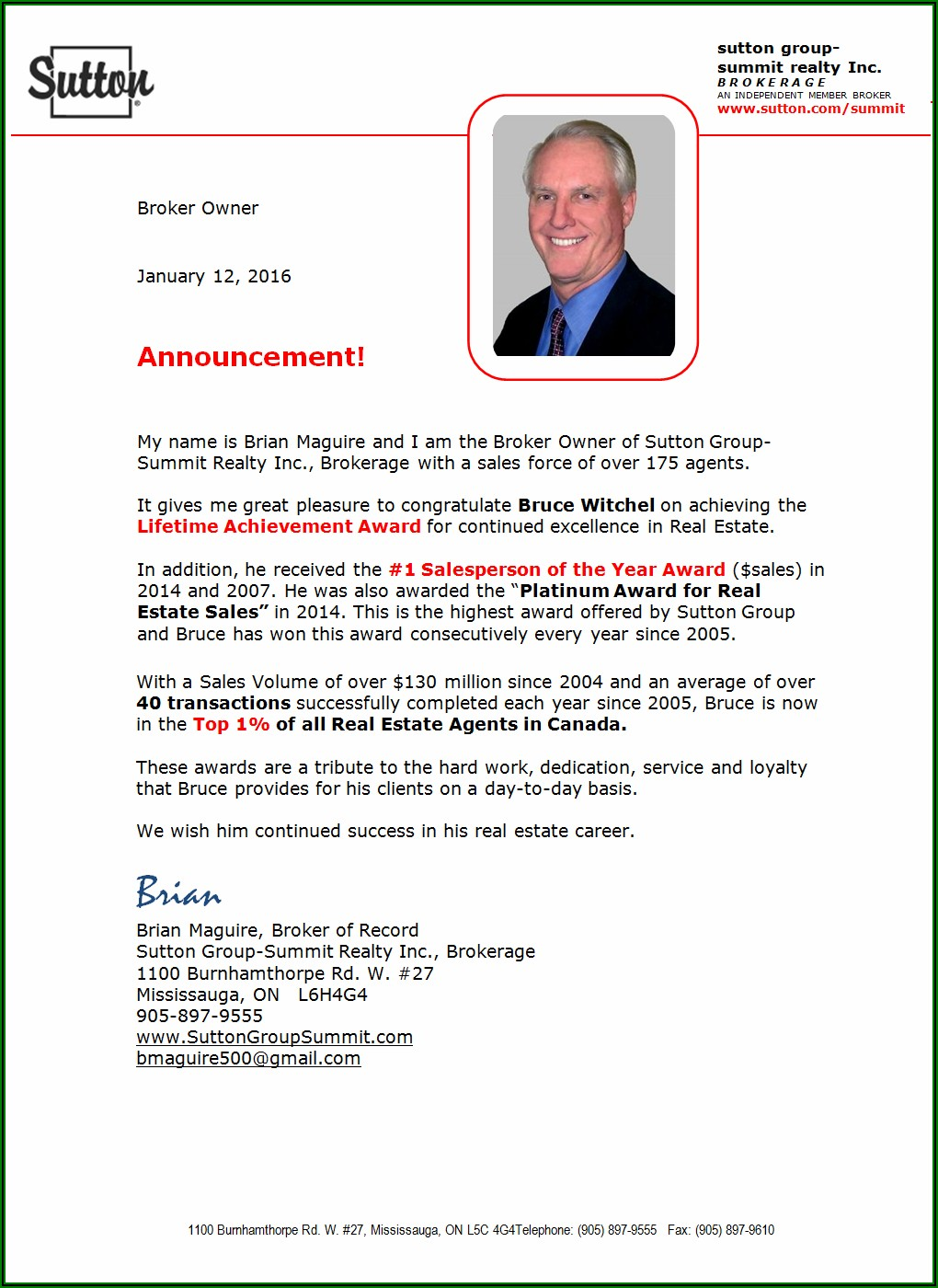 New Real Estate Agent Announcement Letter