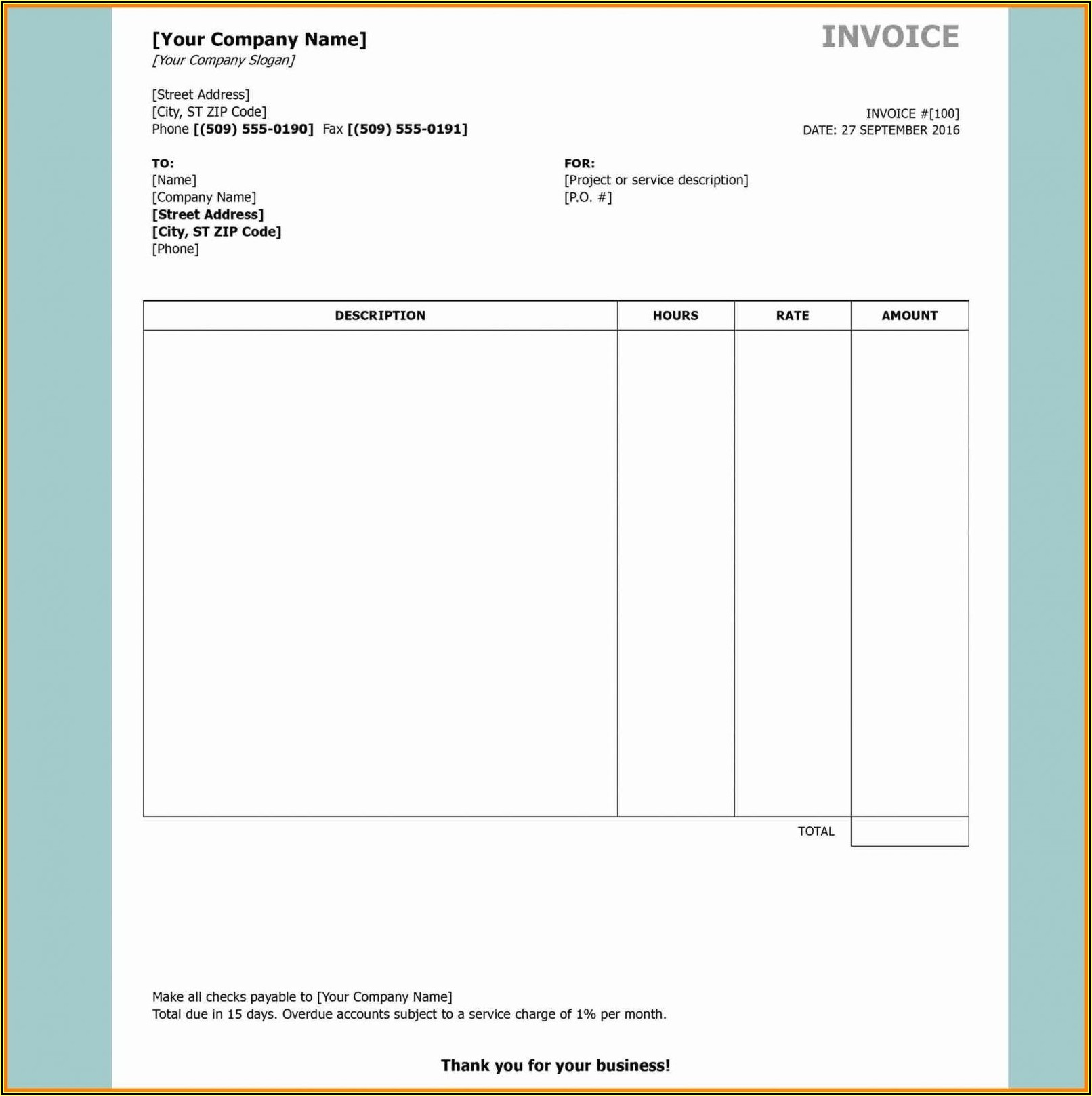 Open Office Invoice Template Free