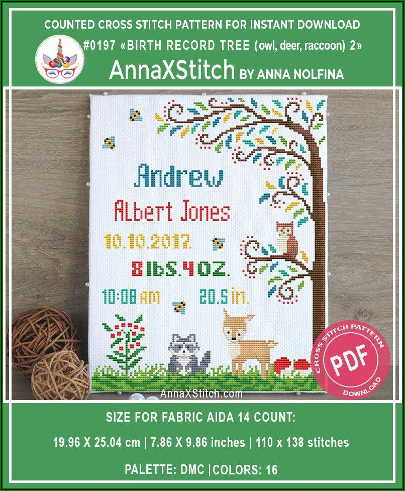 Owl Counted Cross Stitch Baby Announcement Pattern