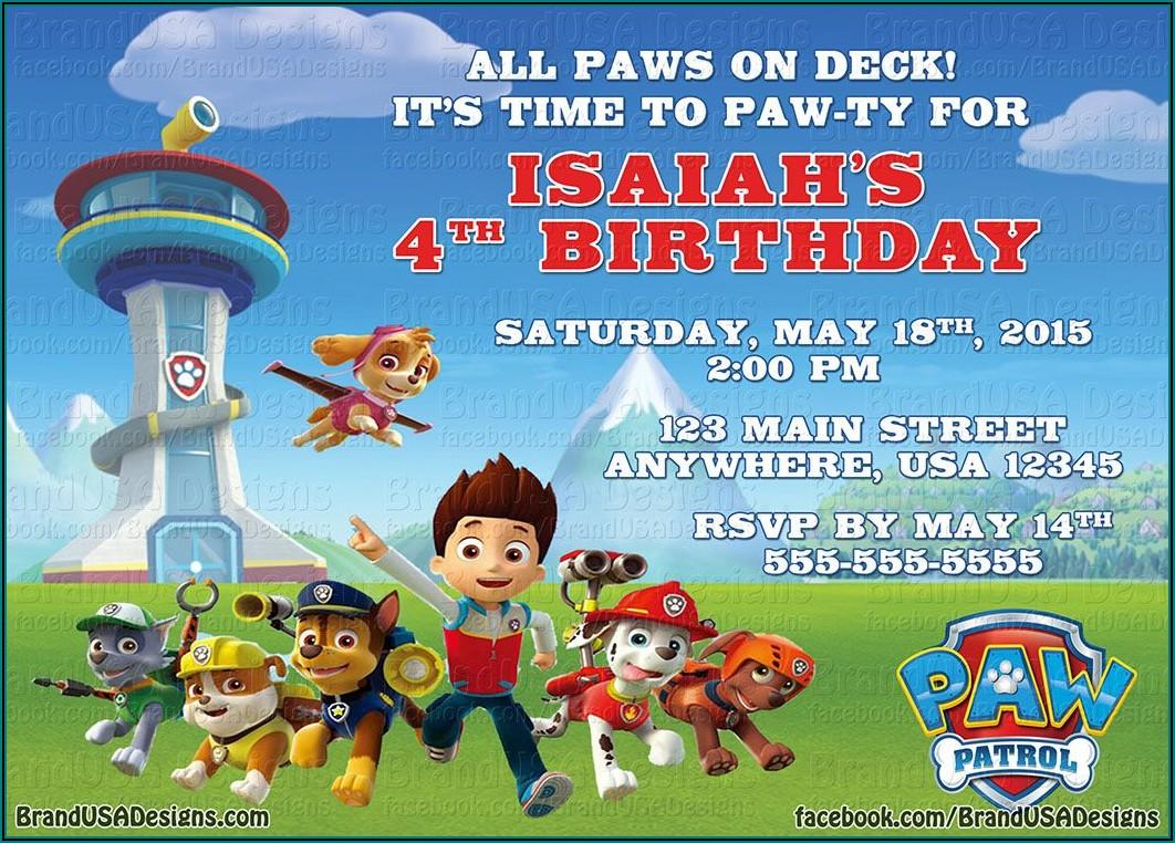 Paw Patrol Birthday Invitation Sample