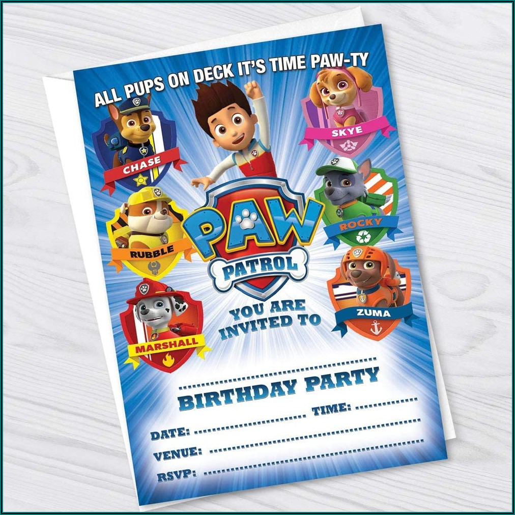 Paw Patrol Birthday Invitations Boy