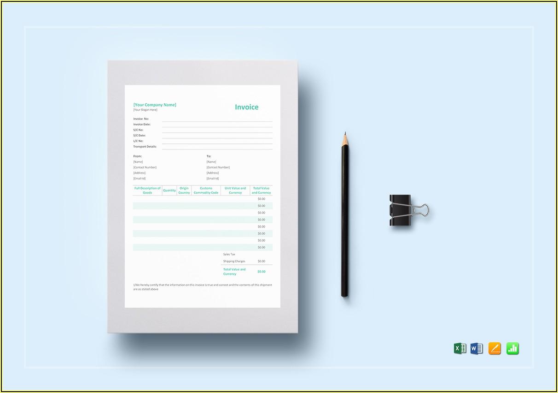 Proforma Invoice Format Excel Template