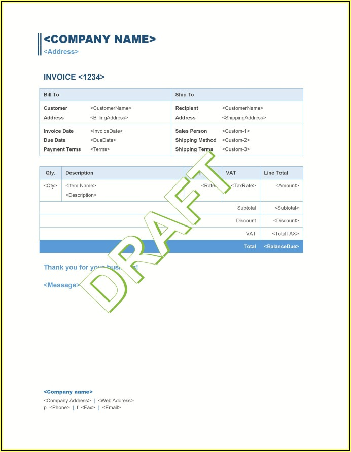 Quickbooks Customize Bill Template
