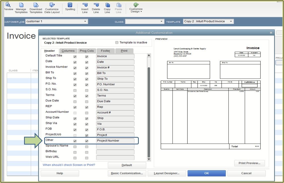 Quickbooks Customize Invoice Number
