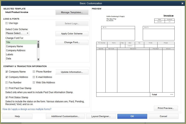 Quickbooks Online Invoice Template Edit