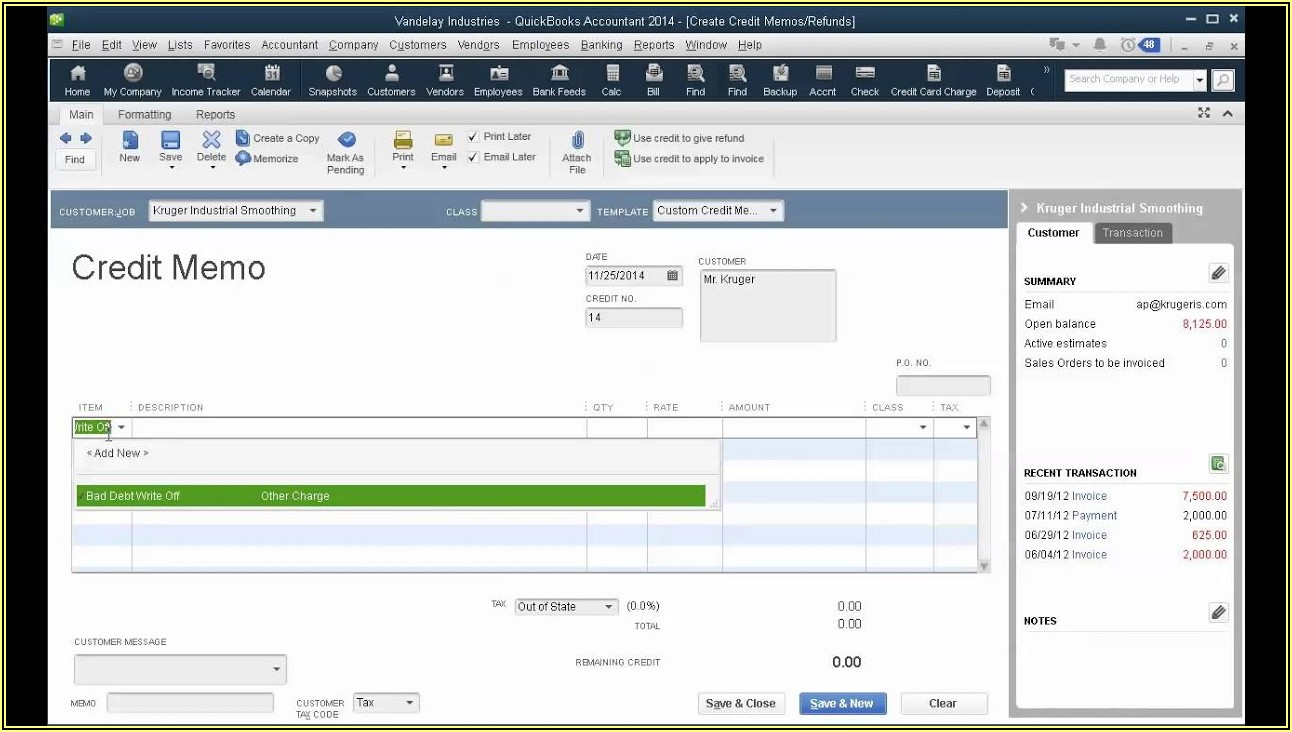 Quickbooks Online Write Off Invoice Balance