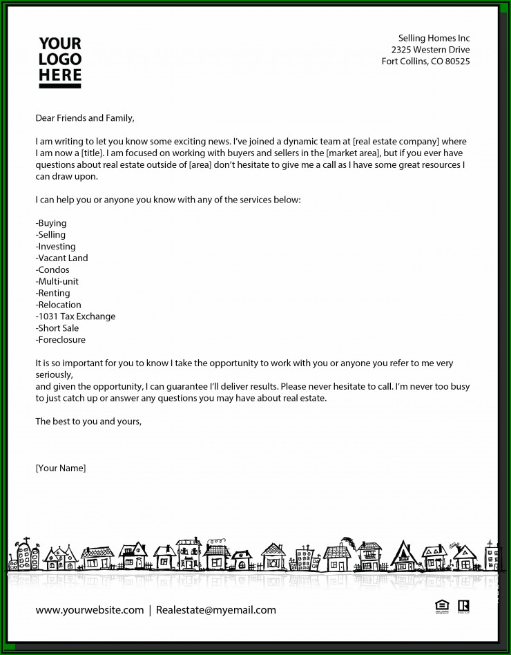 Sample New Real Estate Agent Introduction Letter