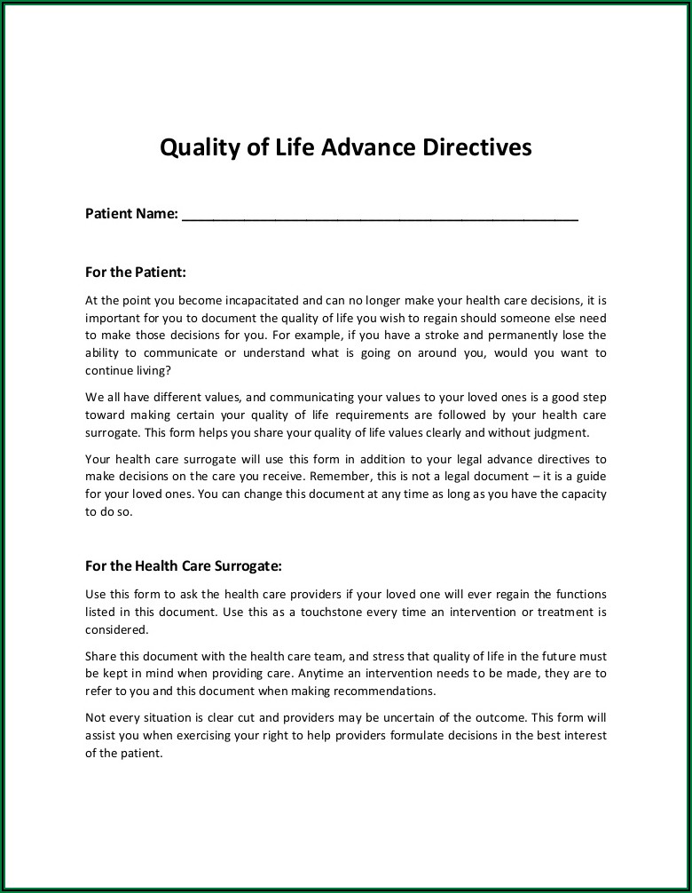 Sample Of Advance Care Directive Form