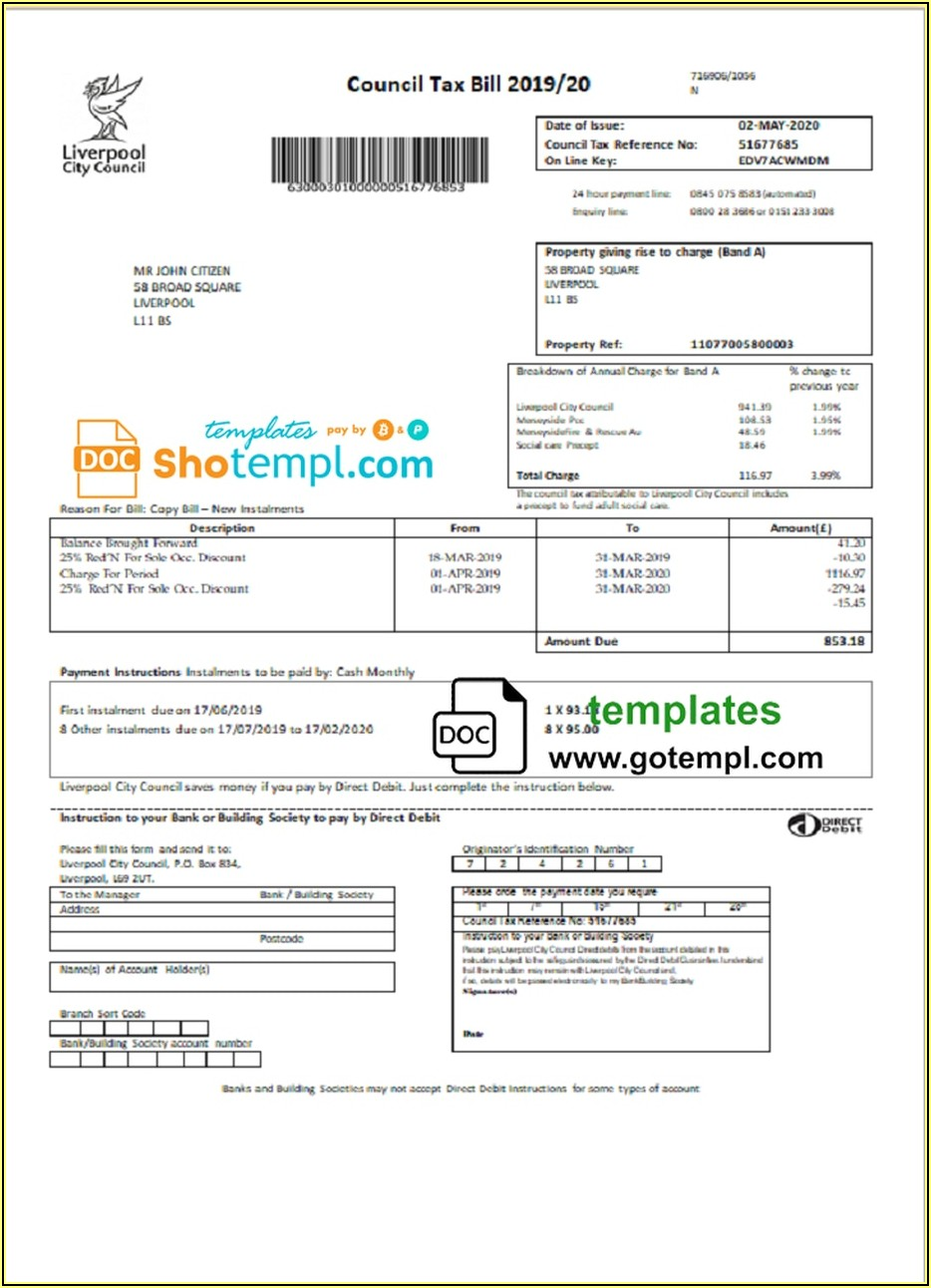 Tax Bill Format In Word