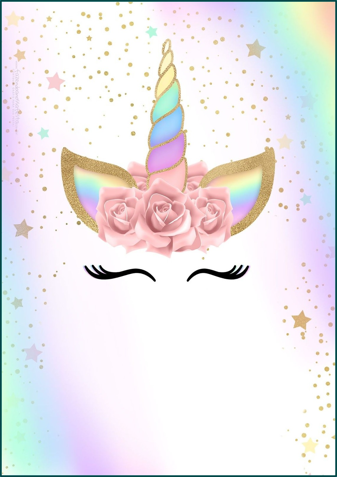 Unicorn Birthday Invitation Blank Template