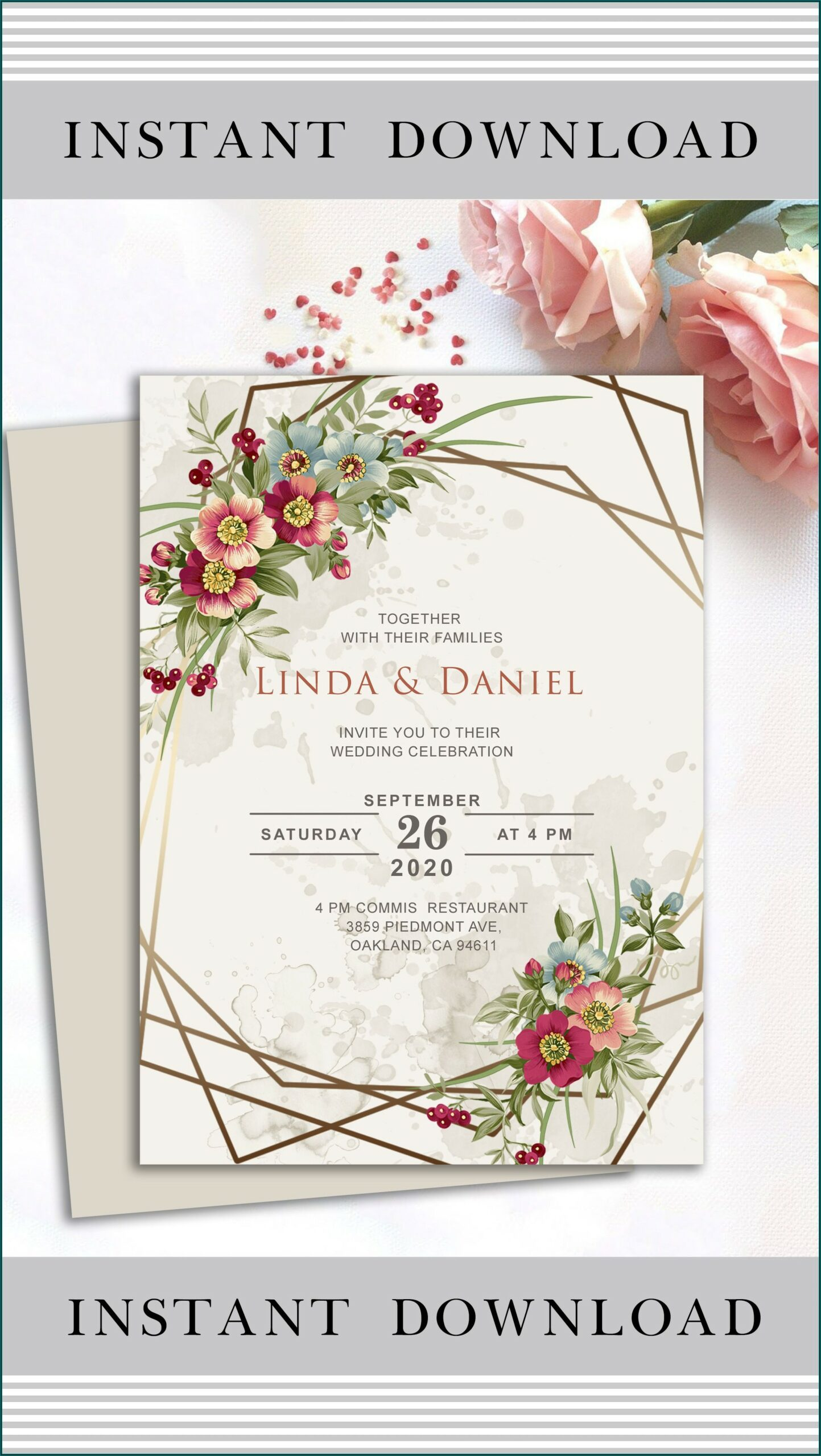 Wedding Invitation Template Floral