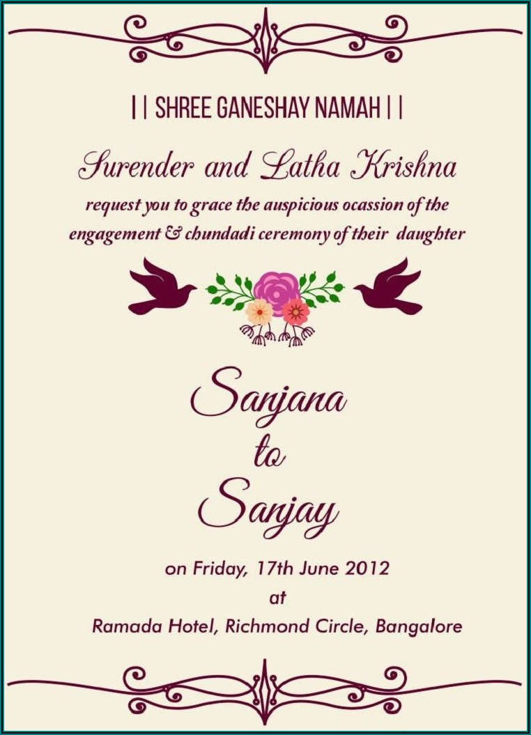 Wedding Invitation Templates For Sister's Marriage