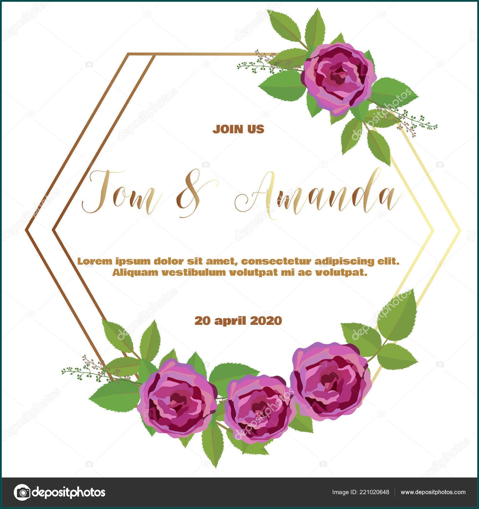 Wedding Invites Floral Template