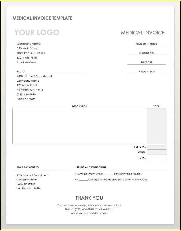 Word Document Free Printable Invoice Templates