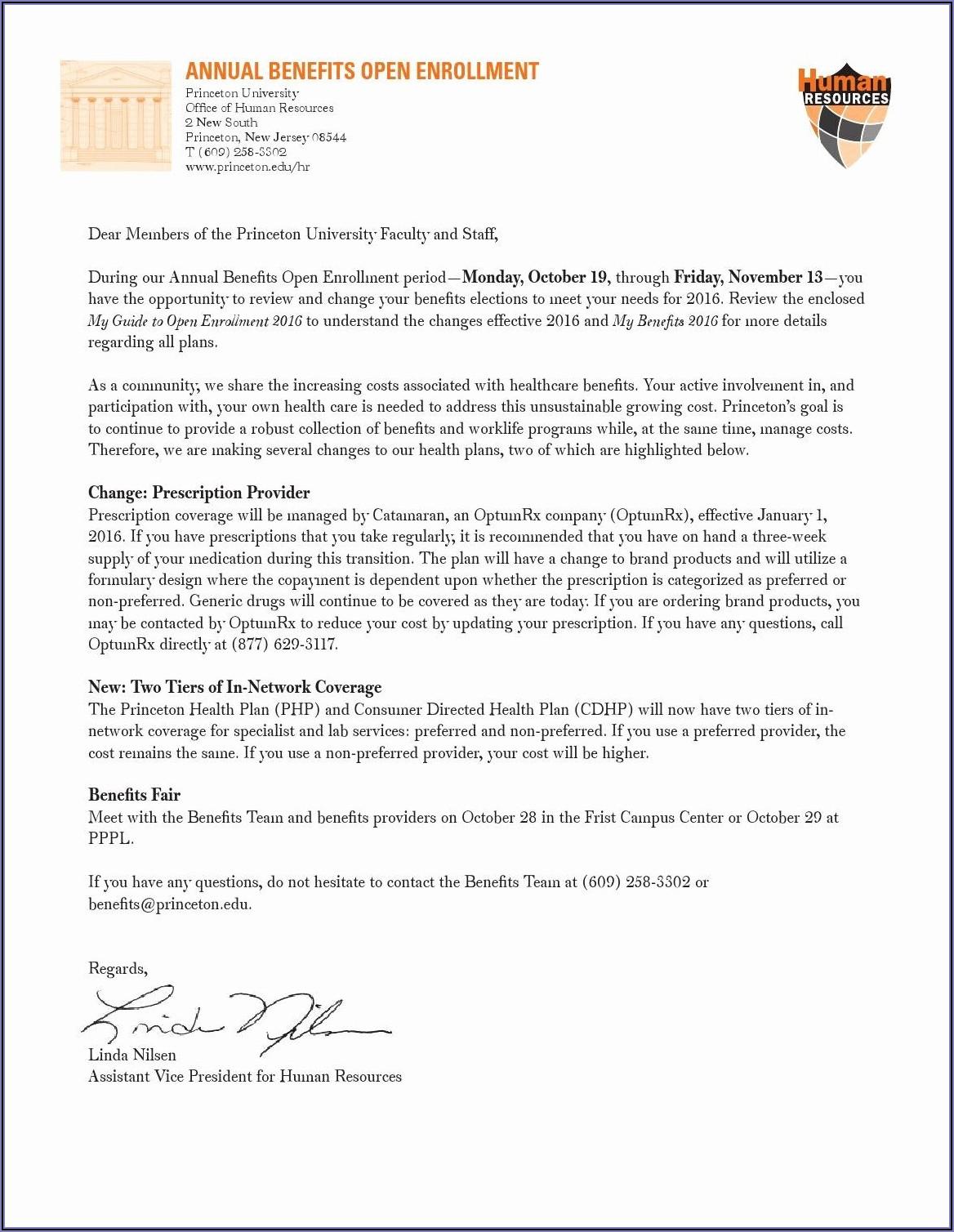 401k Open Enrollment Announcement Template