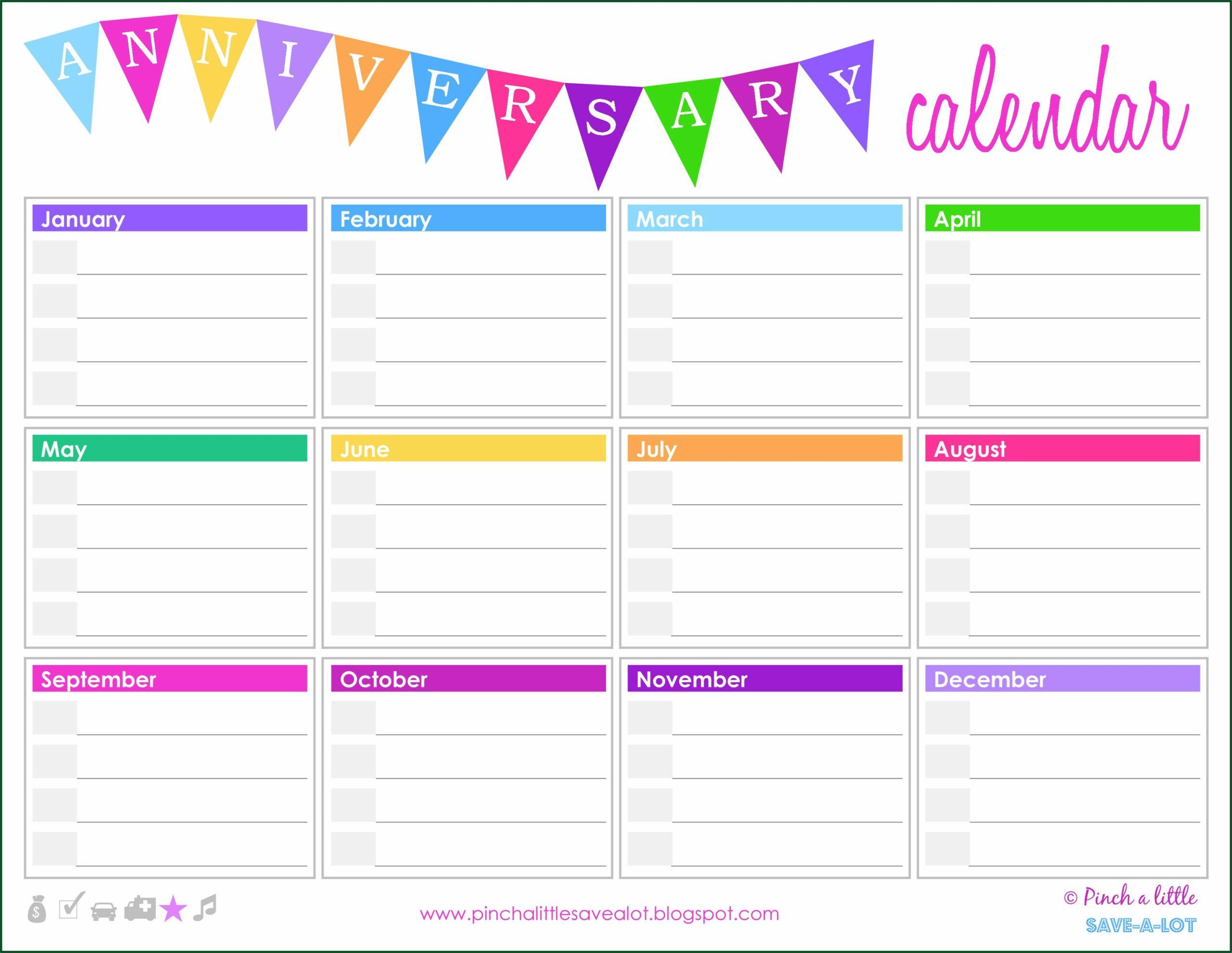 Annual Birthday Calendar Template Free
