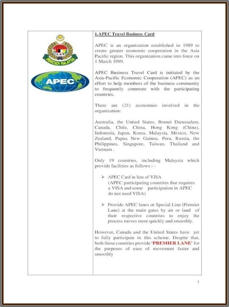 Apec Business Travel Card Australia Requirements