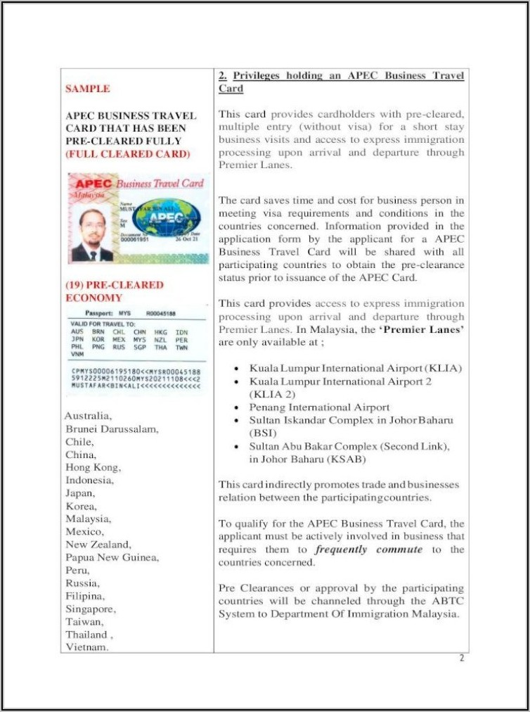 Apec Business Travel Card For Malaysian In Singapore