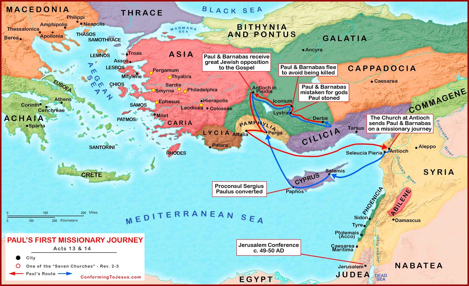 Apostle Paul's Journeys Timeline