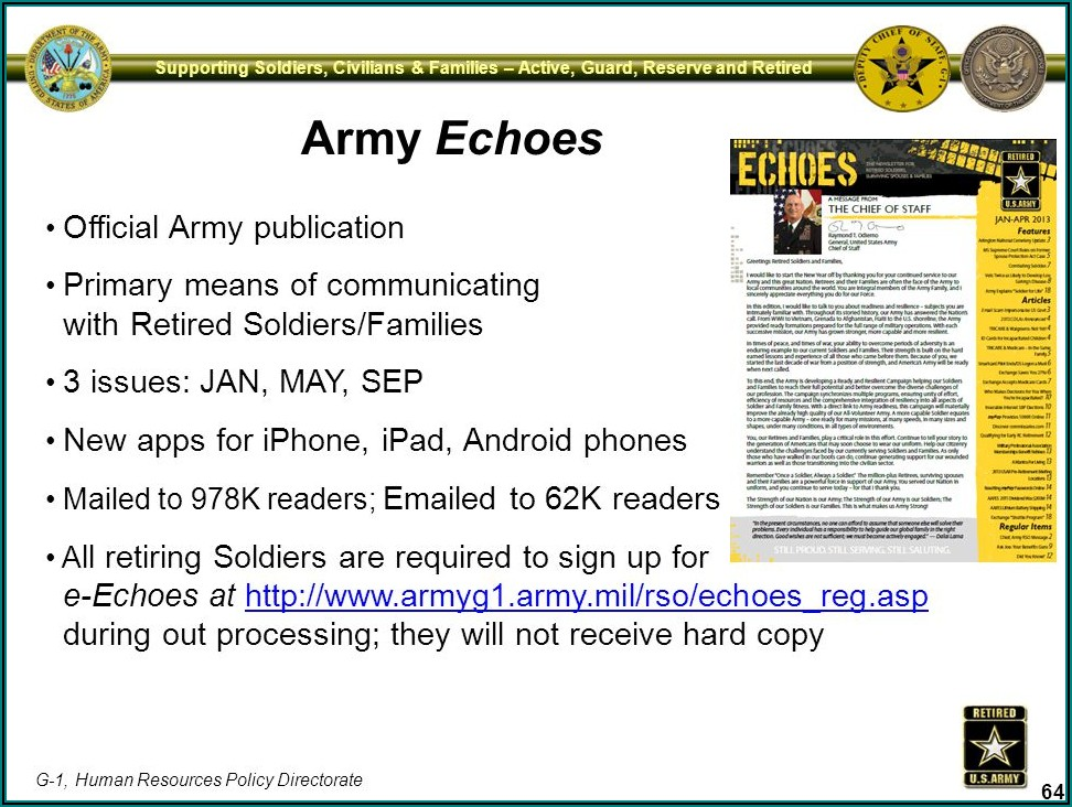 Army Echoes Retiree Newsletter
