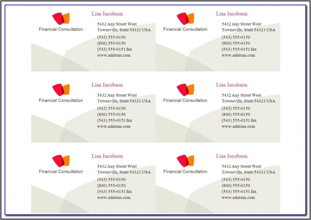 Avery Business Card Template 5371 Download