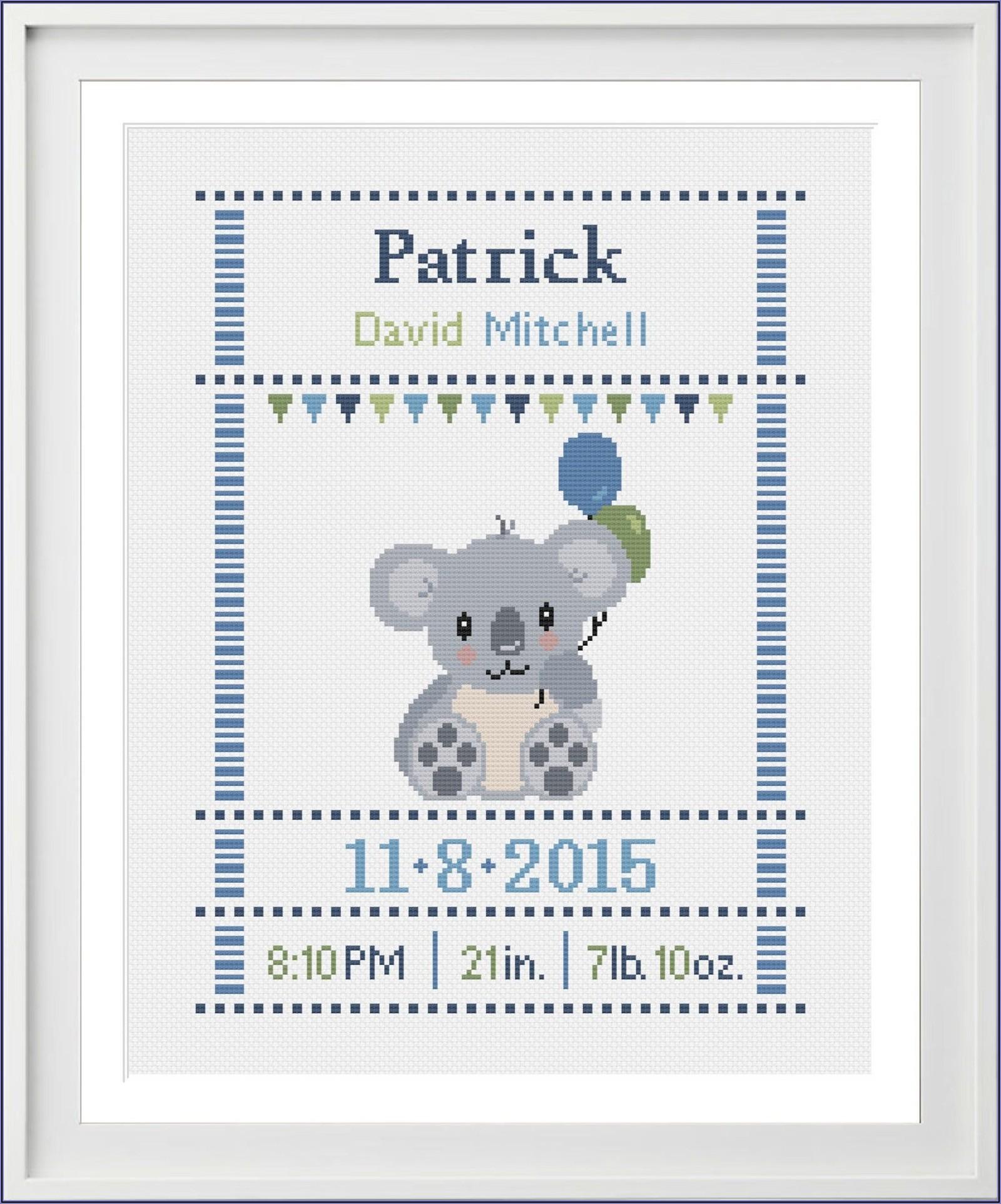 Baby Boy Birth Announcement Cross Stitch