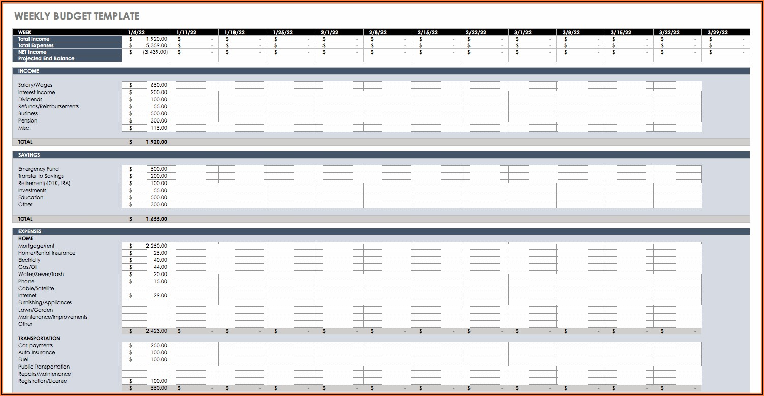 Budget Planner Template Excel Free