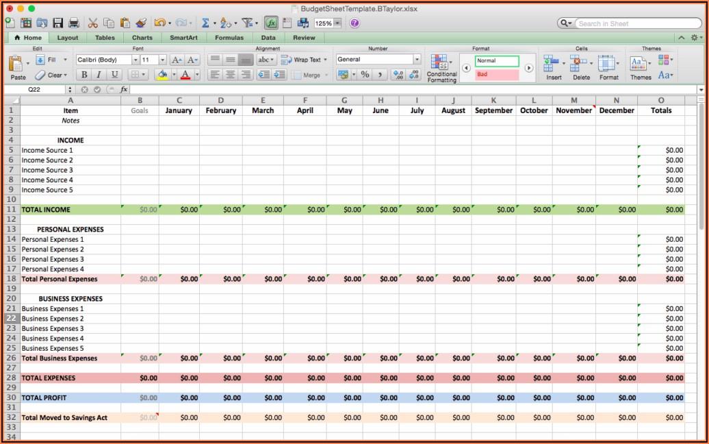 Budget Sheet Template Excel