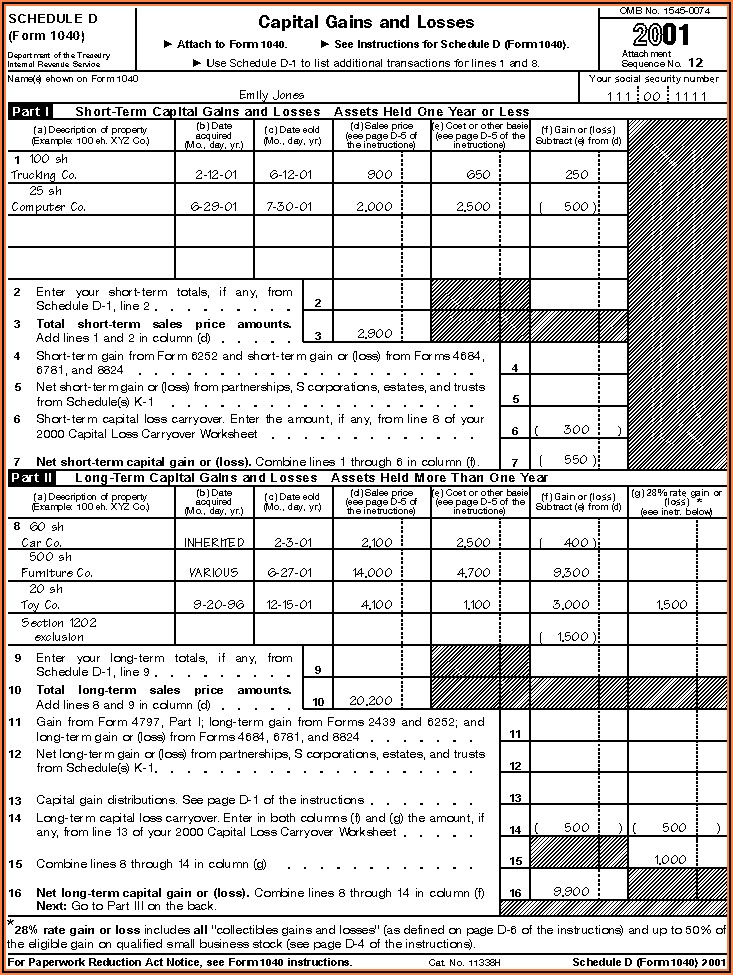 Capital Gains And Losses Worksheet Example