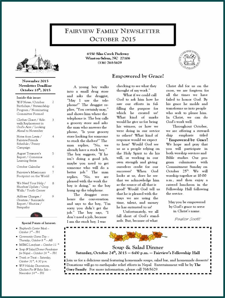Church Newsletter Templates Pdf