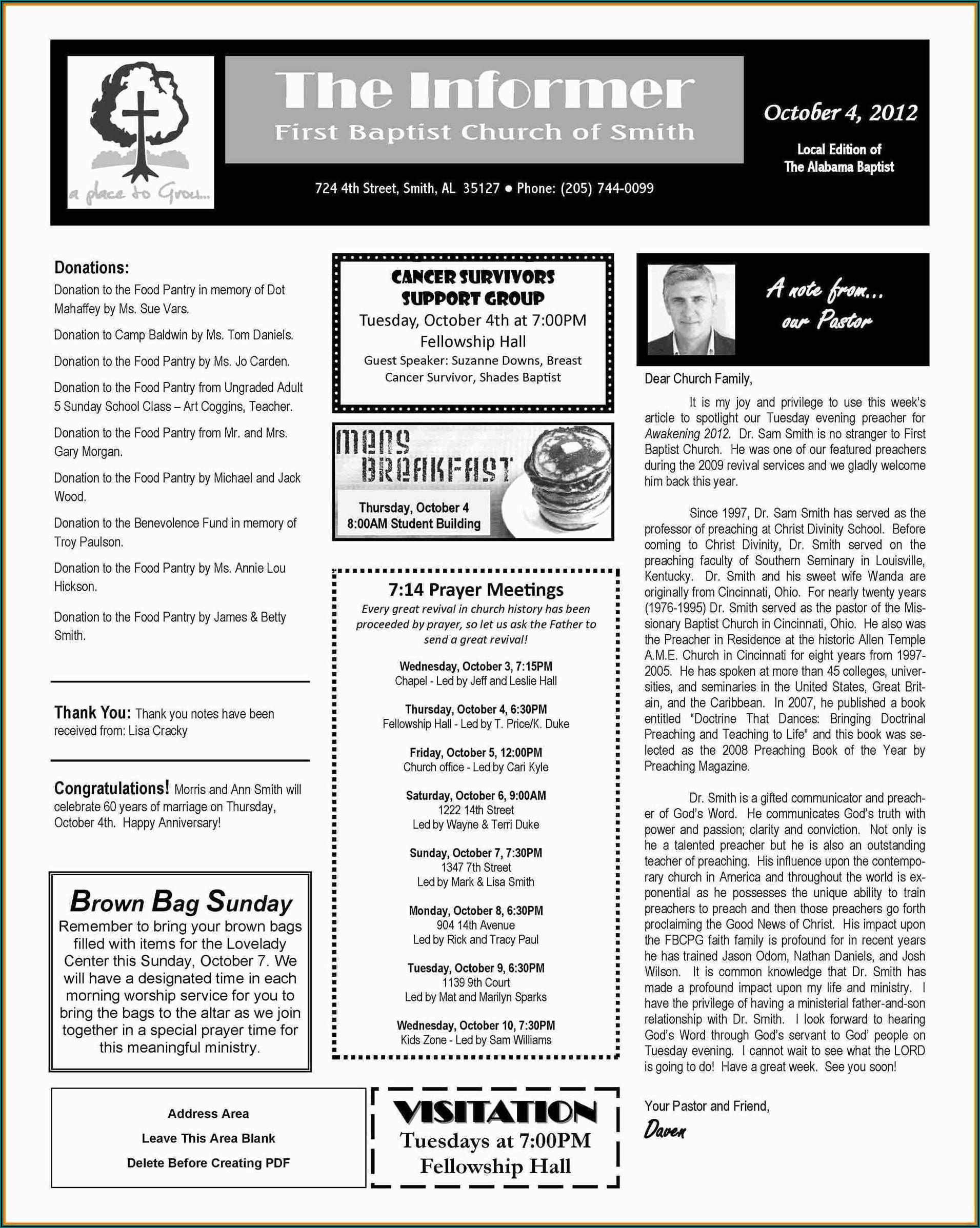 Church Newsletter Templates Word
