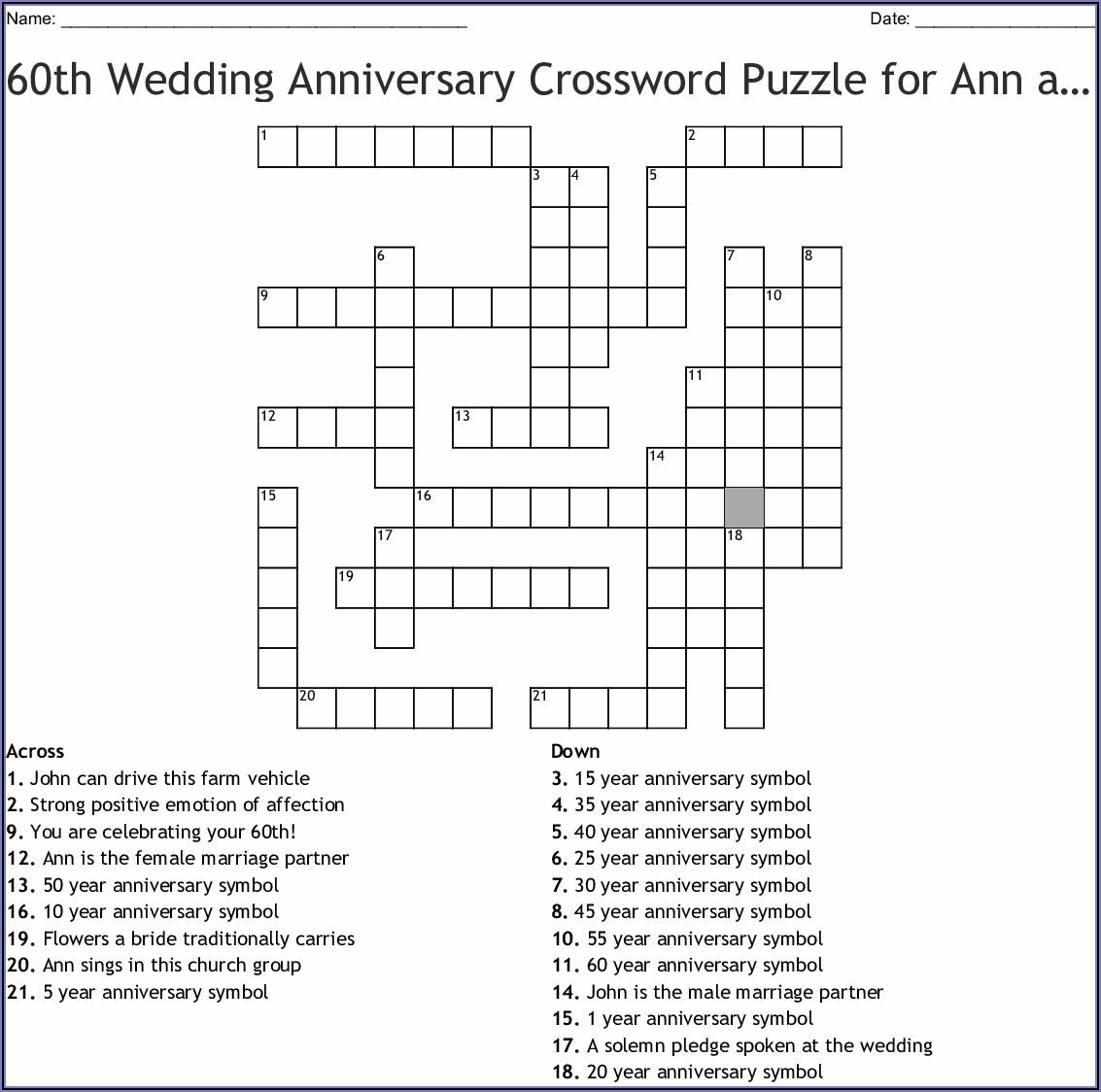 Church Wedding Announcement Crossword Clue