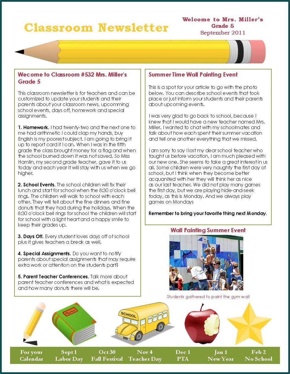 Classroom Newsletter Template Pdf