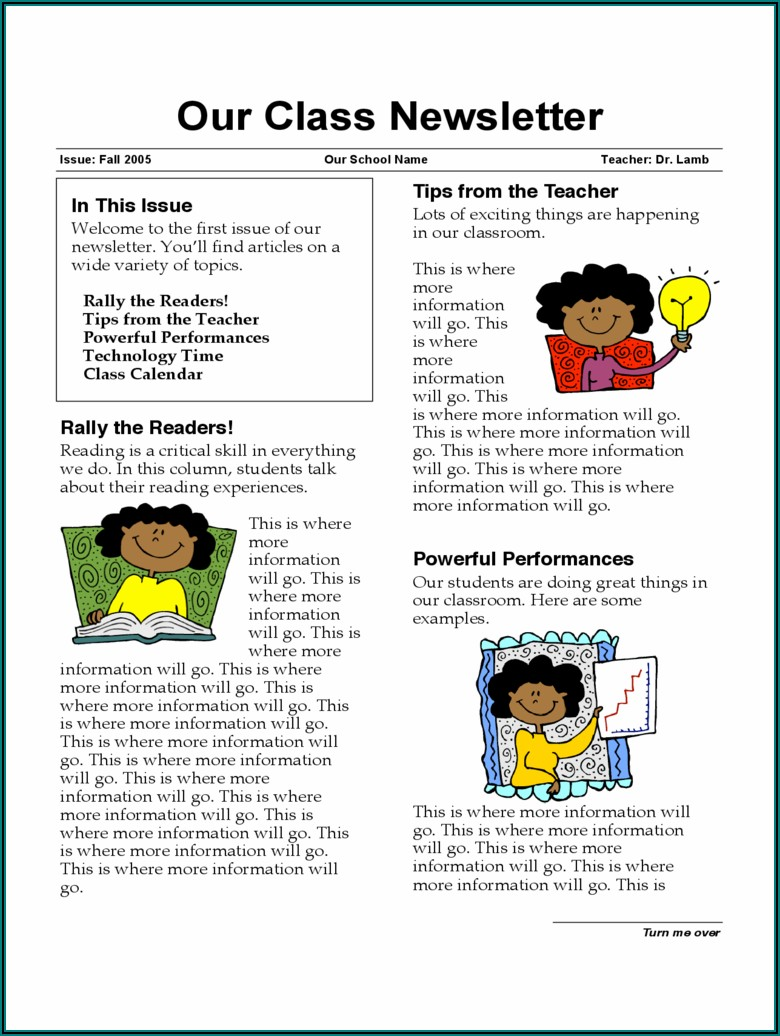 Classroom Newsletter Template Word Free