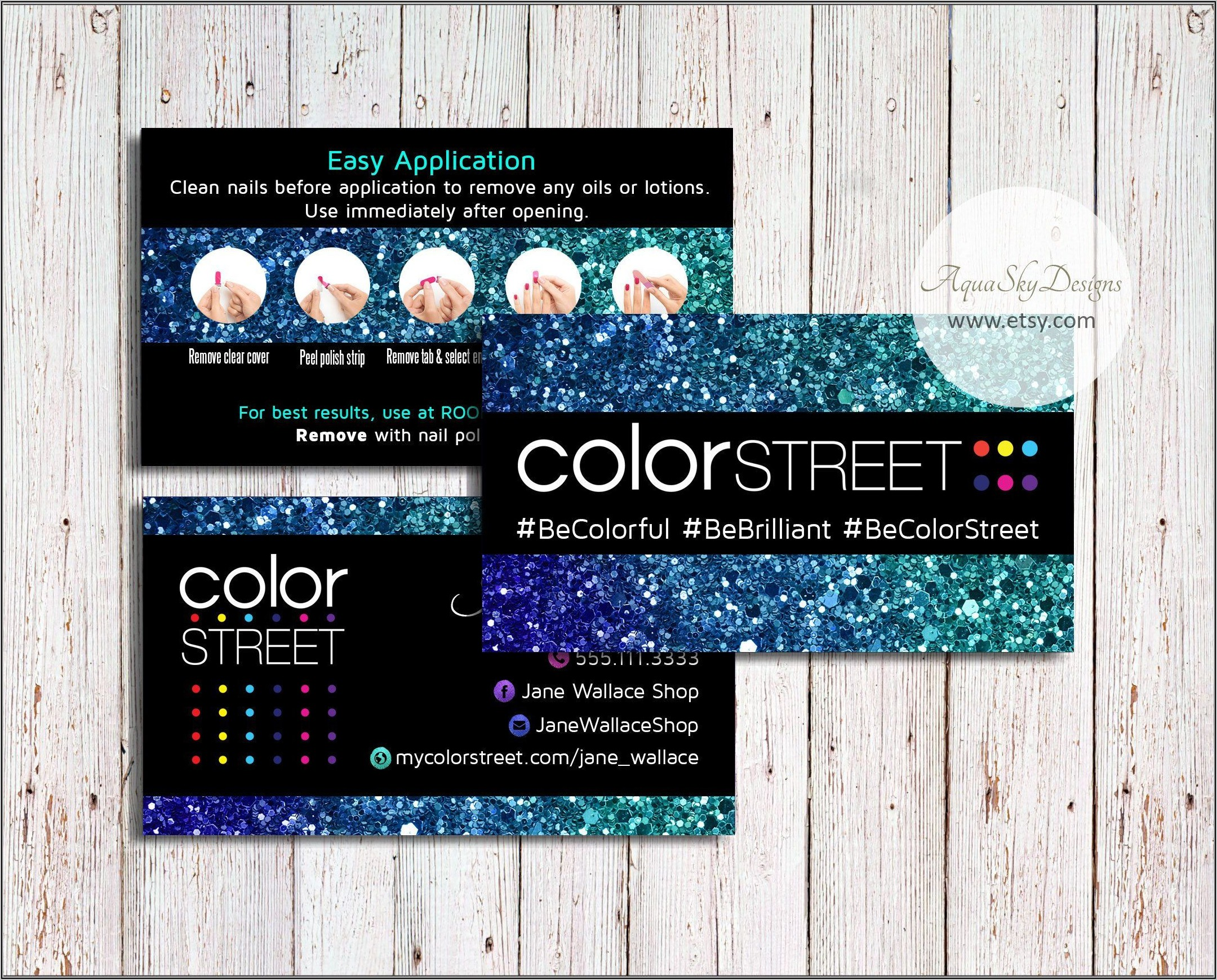 Color Street Business Cards With Instructions