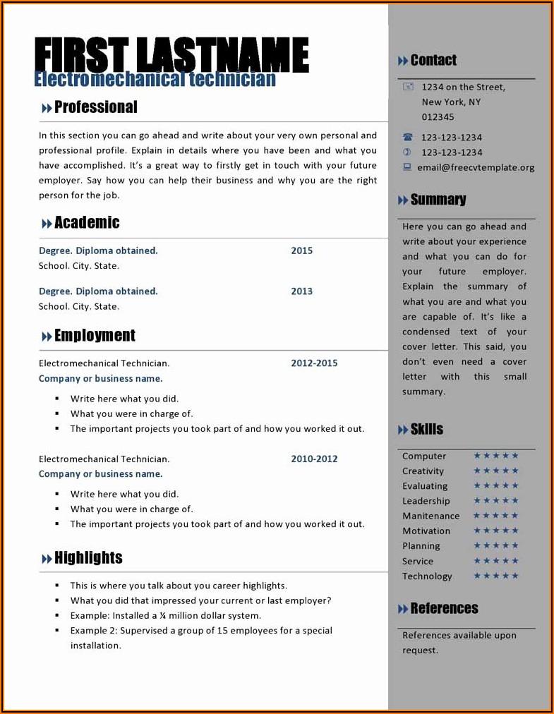 Curriculum Vitae Template Microsoft Word 2013