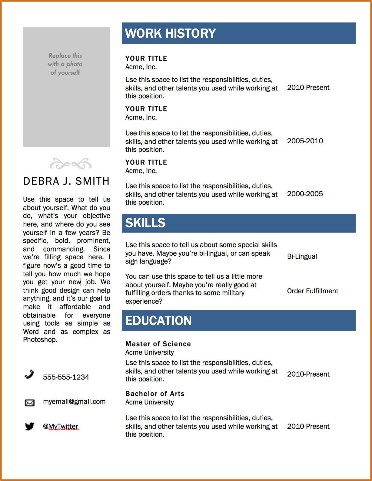 Cv Template For Microsoft Word 2010