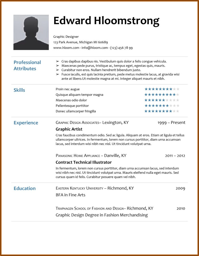 Cv Template For Word 2010