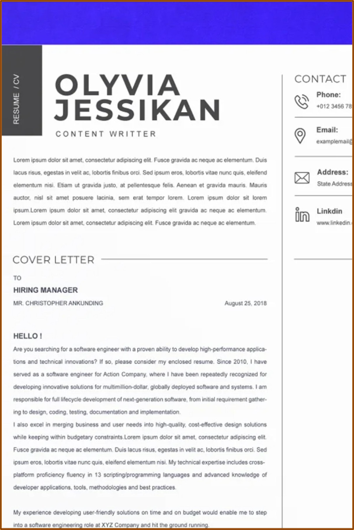 Cv Template For Word Document
