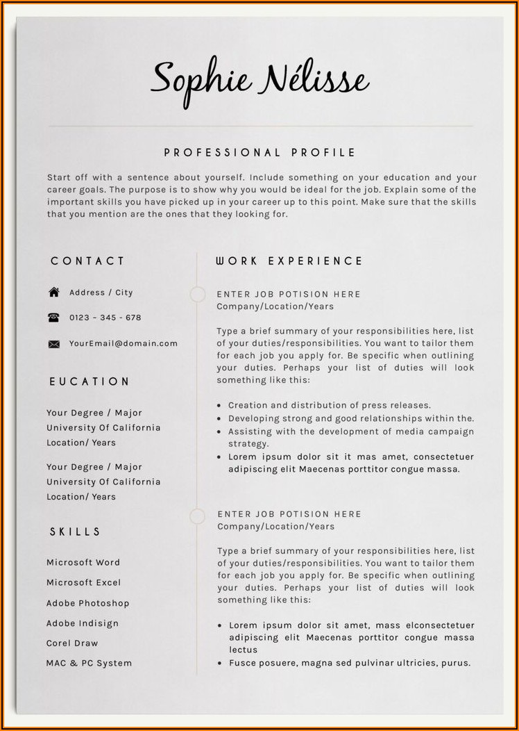 Cv Template For Word Download