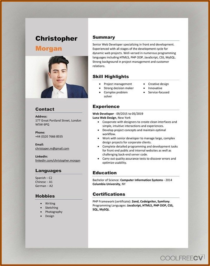 Cv Template Word Doc Free Download